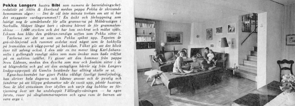 Hemma hos Pekka Langer och Bibbi på Måbärsstigen 28